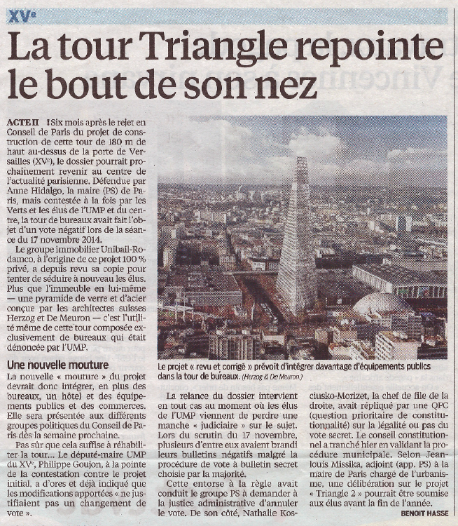Annonces refusons la tour triangle la porte de for Salon porte de versailles 30 mai 2015